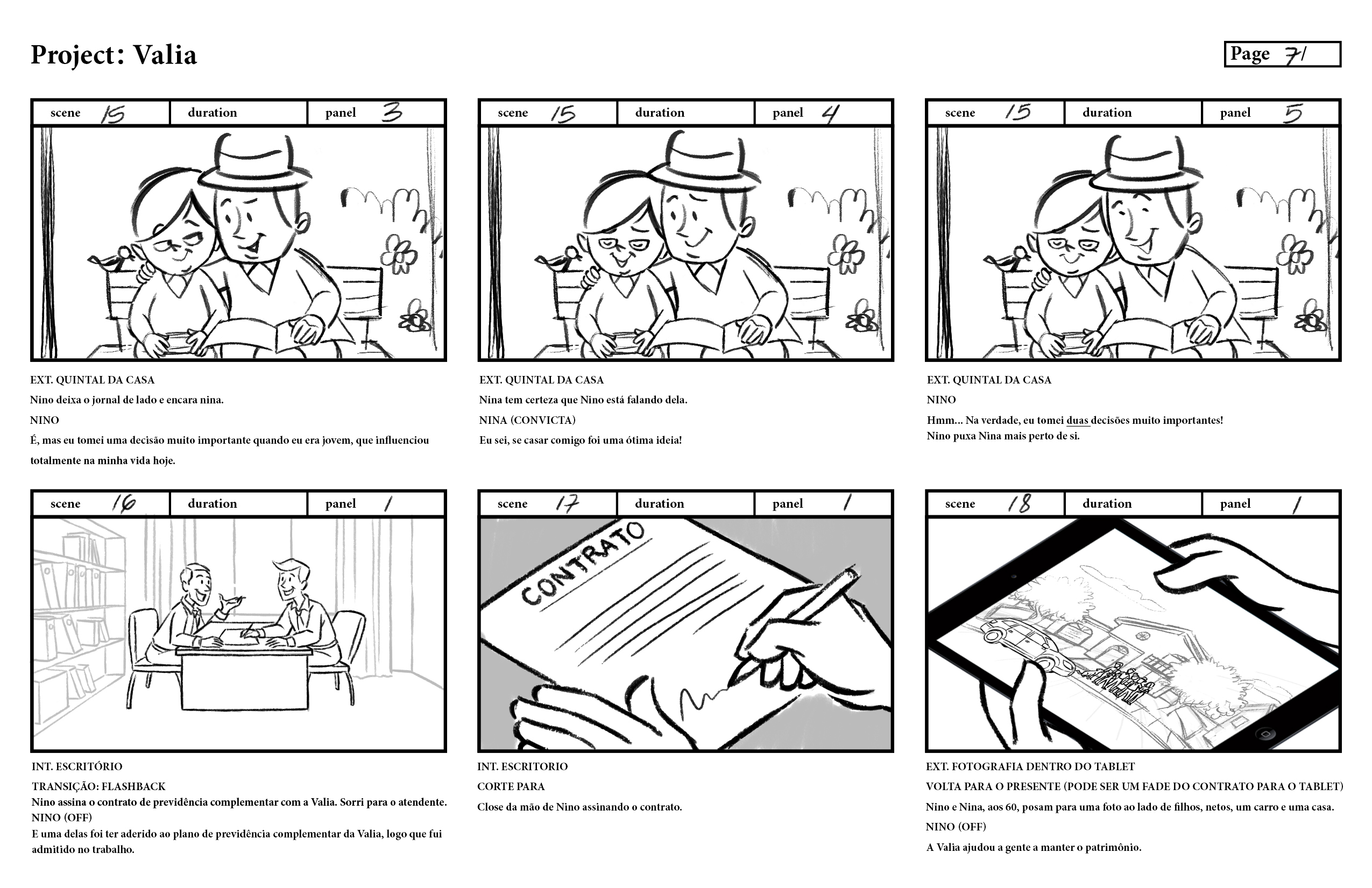 storyboard for a private insurance plan, to be animated with motion graphics