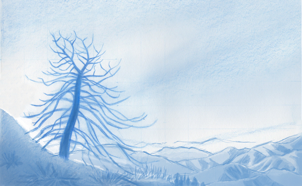 Final sketch for a watercolor of a burnt tree.