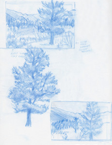 sketch for watercolor painting, Angeles National Forest, CA