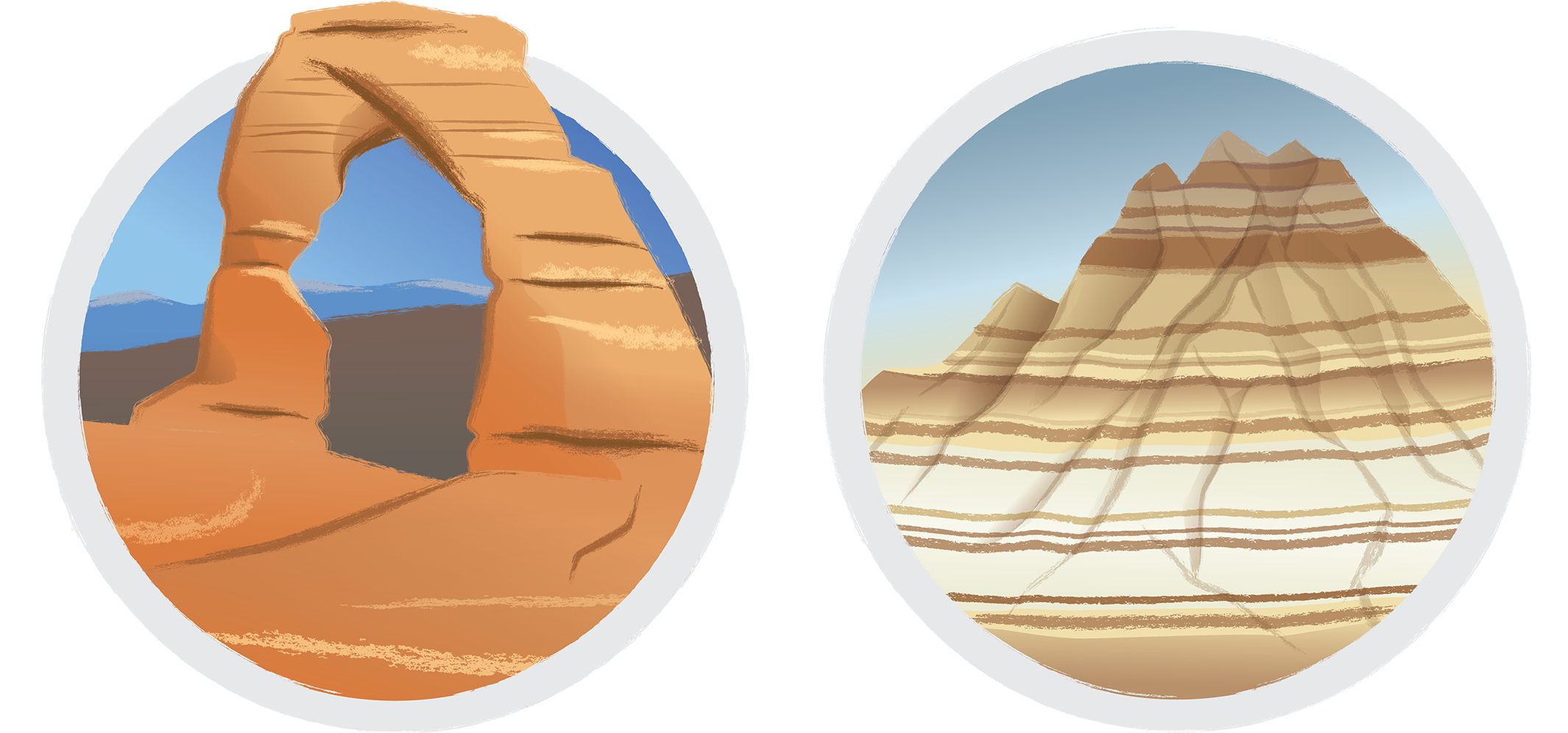 Arches and Badlands National Parks vector illustration