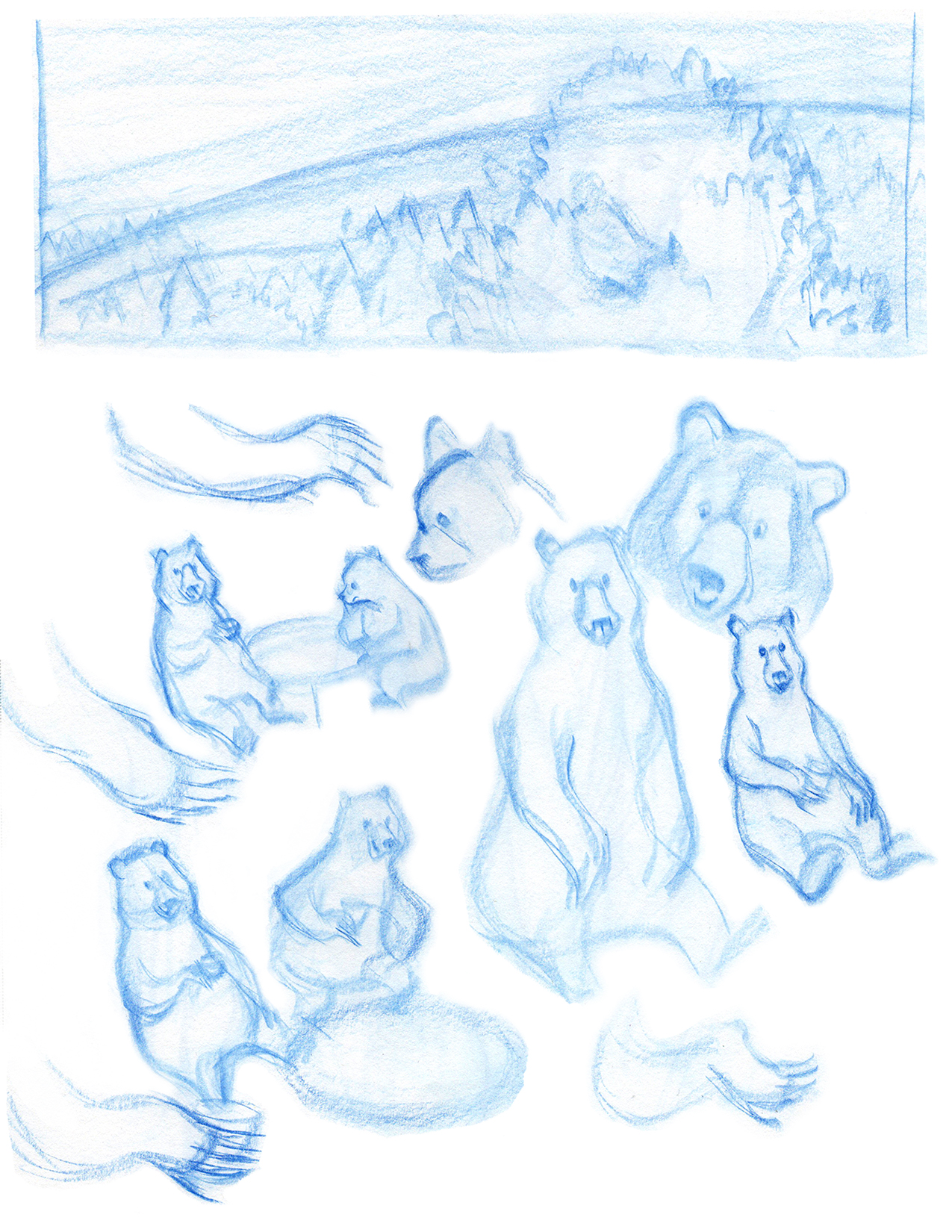 Sketch of four bears on a tree, two of them playing chess, one of them drinking coffee