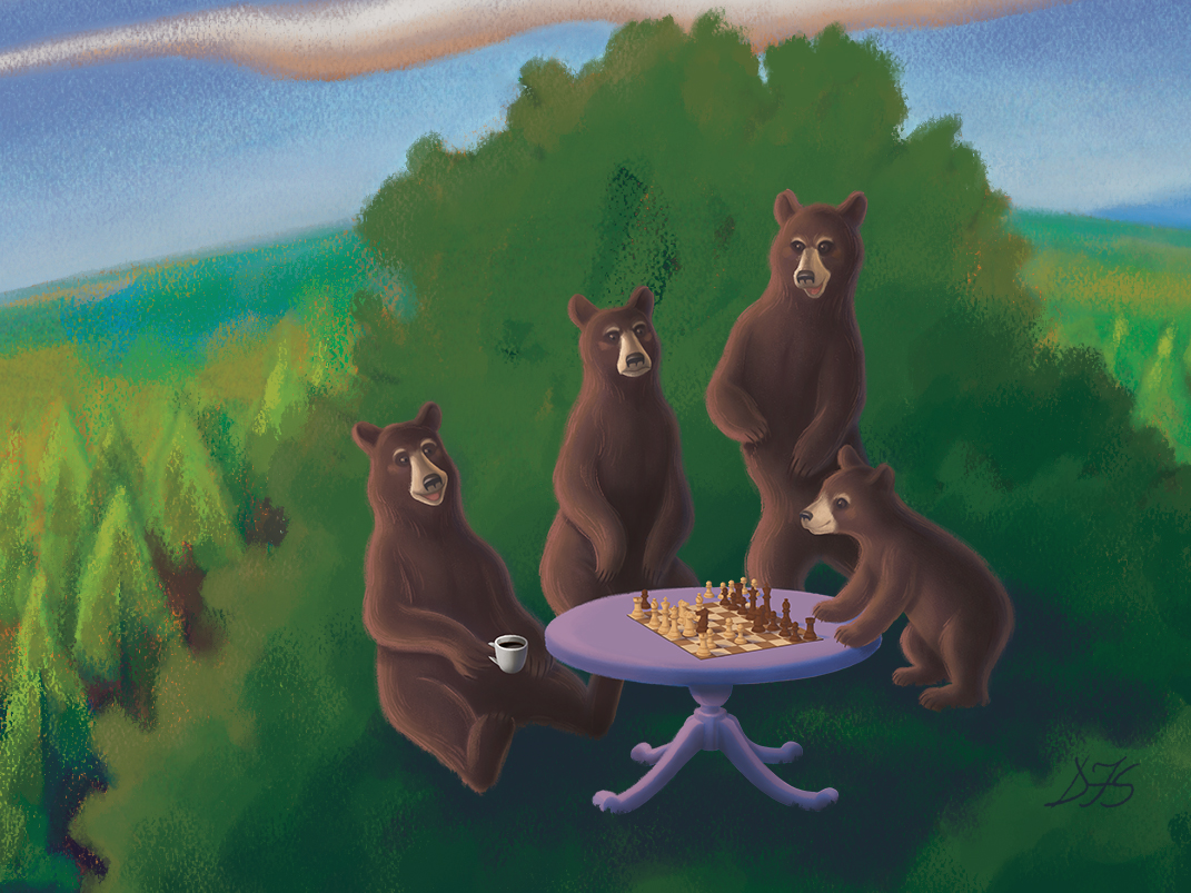 Four bears on a tree, two of them playing chess, one of them drinking coffee