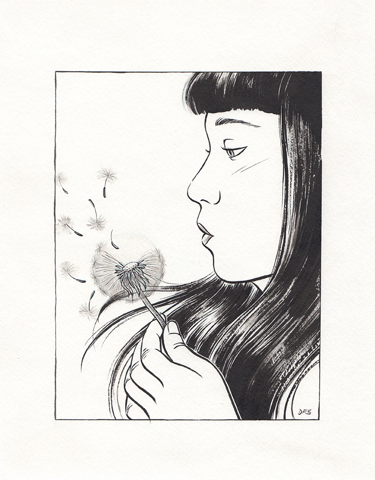 Illustration in ink of a native Brazilian girl with dandelion