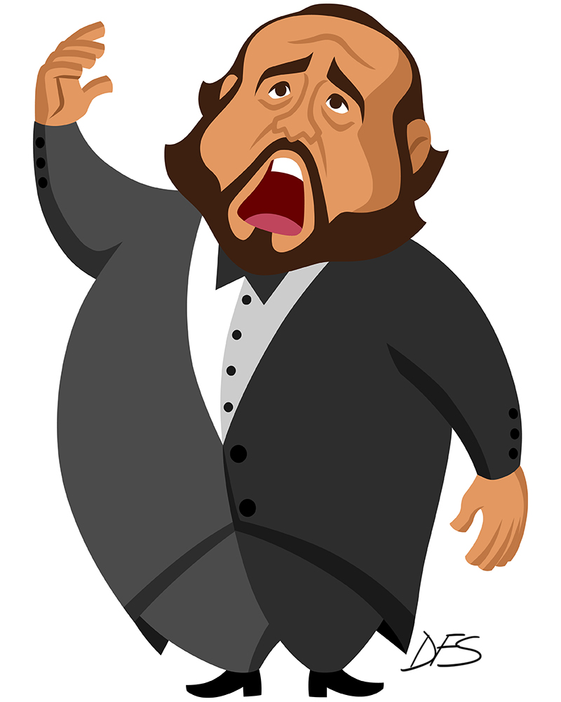 Caricature of Spanish tenor Luciano Pavarotti