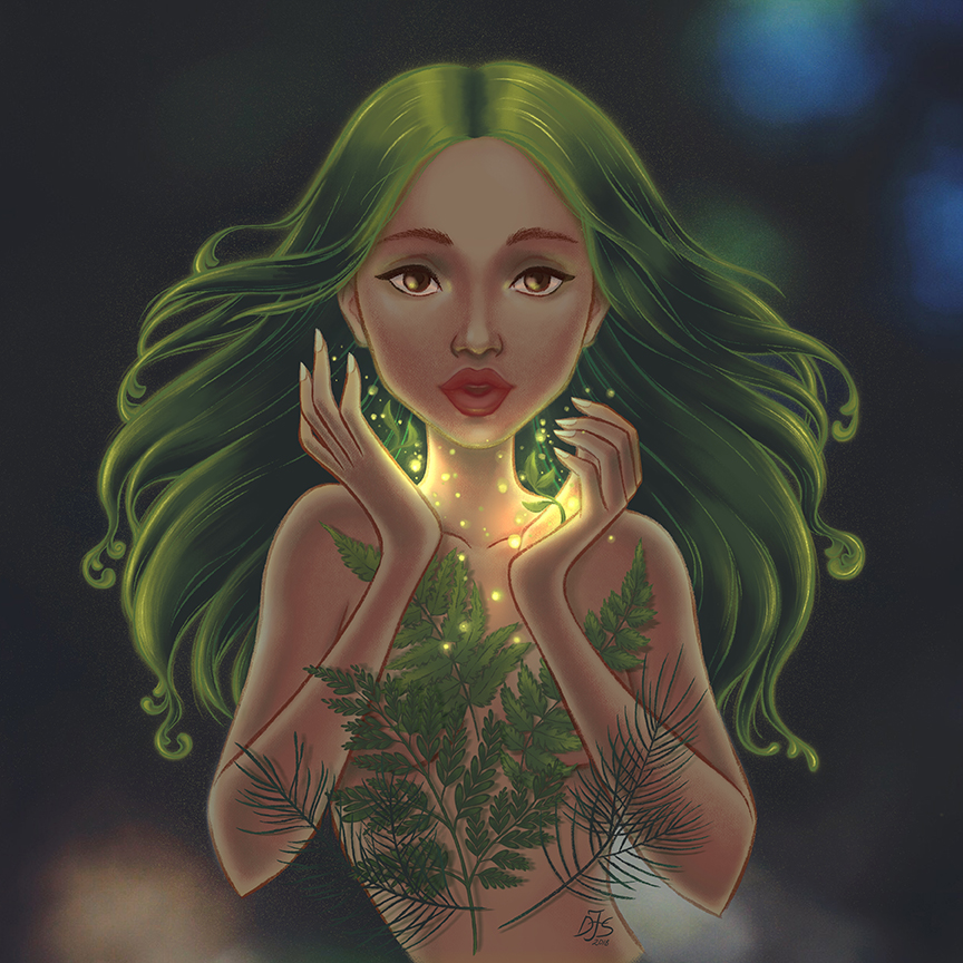 Digital illustration of a Dryad, nymph of the trees in Greek Mythology