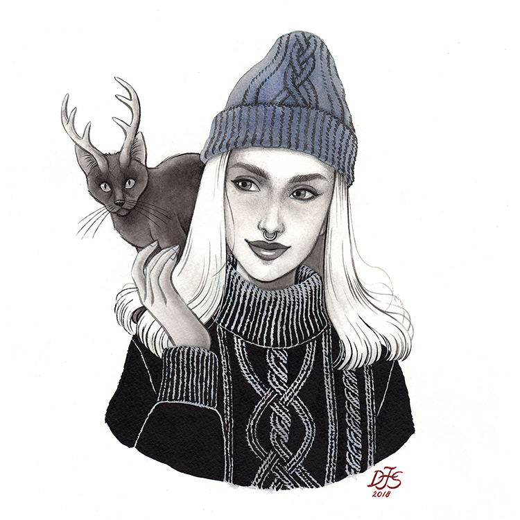 Illustration of a girl with her magical pet, a cat-lope