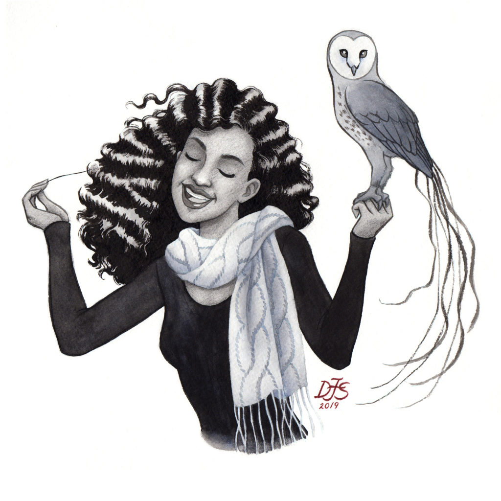 Illustration of a girl holding a mythical creature on her hand, a magical owl.
