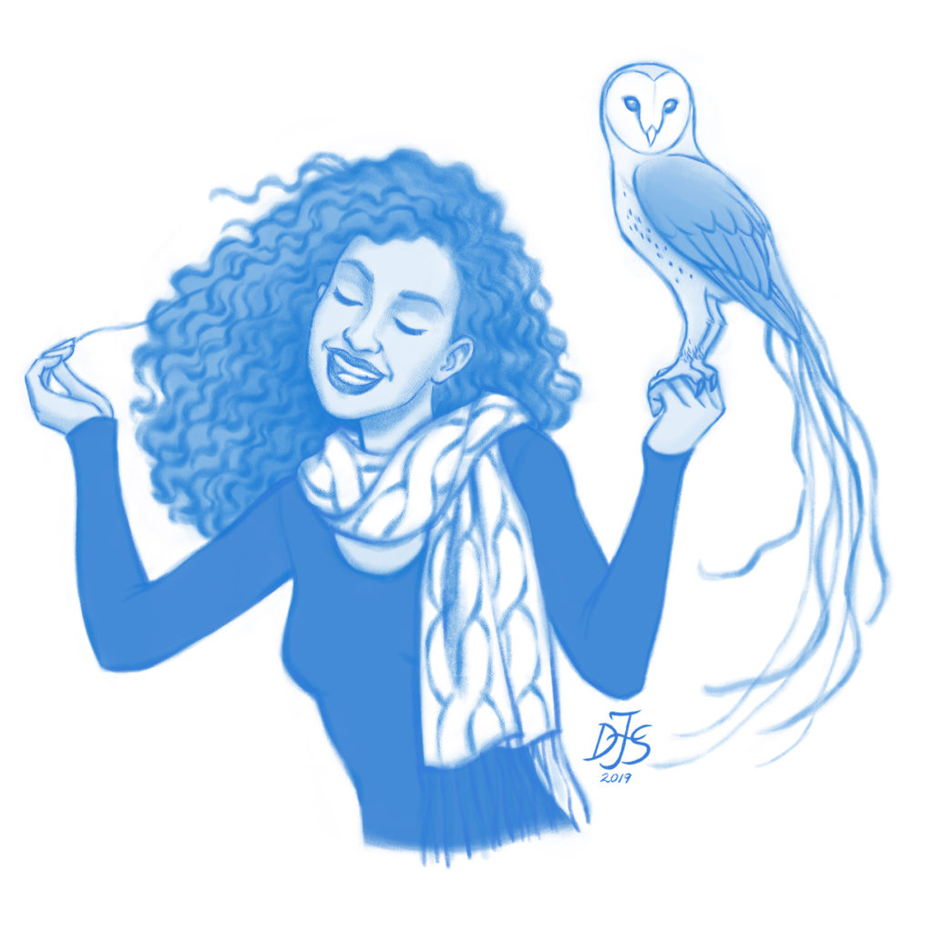Rough drawing for a girl with her magical pet owl